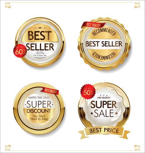 Collection de badges et d'étiquettes en or de première qualité