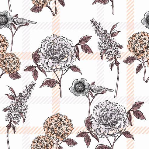 Modelo inconsútil floral con el fondo de la tela escocesa.
