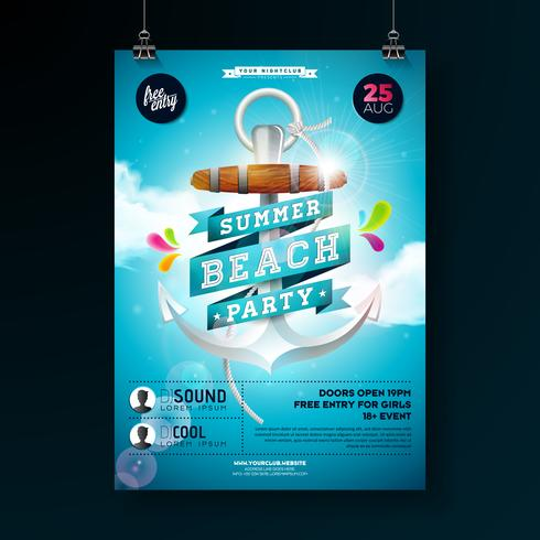 Summer Beach Party Flyer Design with anchor