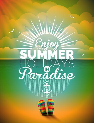 Vector el ejemplo en un tema de las vacaciones de verano en fondo del paisaje marino.