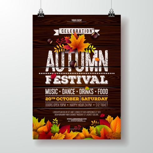 Autumn Party Flyer Illustration with falling leaves and typography