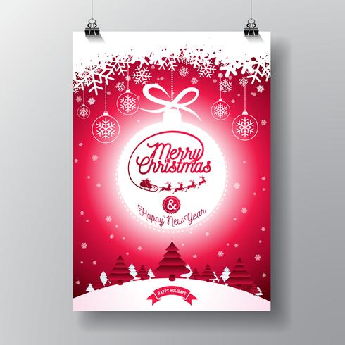 Merry Christmas Illustration with Typography
