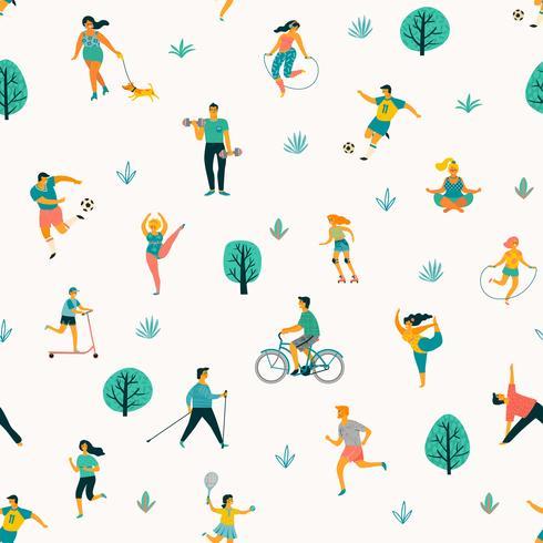 Journée mondiale de la santé. Modèle sans couture de vecteur avec des personnes menant une vie saine et active.