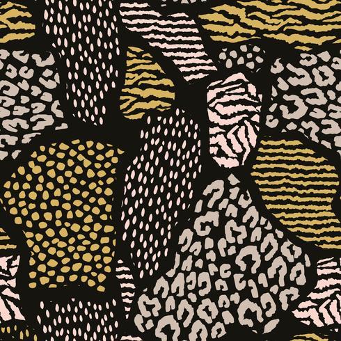 Abstrakt sömlöst mönster med djurtryck. Trendiga handdragen texturer.