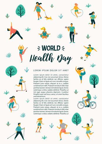 Día mundial de la salud. Ilustración vectorial de personas que llevan un estilo de vida activo y saludable.