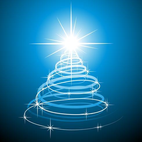 Weihnachtsabbildung mit abstraktem Baum auf blauem Hintergrund.