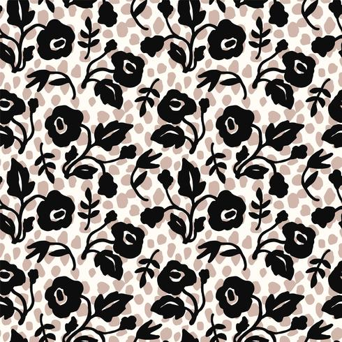 Modelo inconsútil floral abstracto con texturas dibujadas mano de moda.