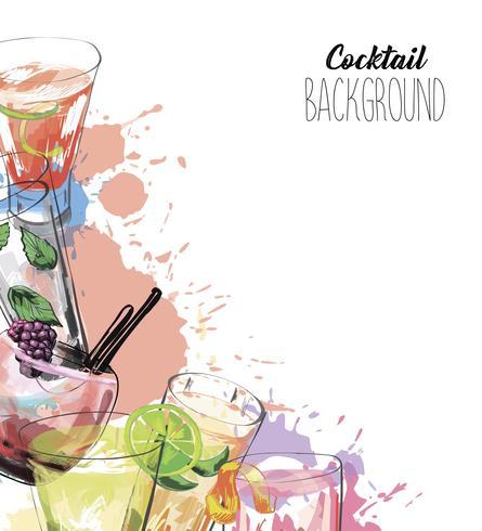 Vektorhintergrund in der Skizzenart mit Alkoholgetränken.