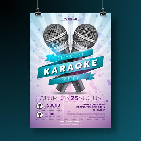 Karaoke Party flyerwith microfones em fundo violeta