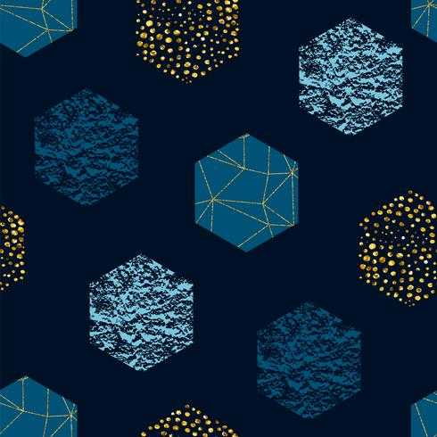Abstract geometric seamless repeat pattern with hexagons and glitter texture. Trendy hand drawn textures.