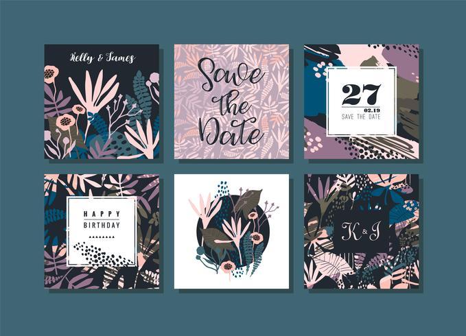 Set av abstrakta kreativa kort.