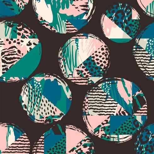 Abstract geometrisch naadloos patroon met dierlijke druk en cirkels.