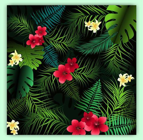 Fondo inconsútil floral tropical del modelo del vector