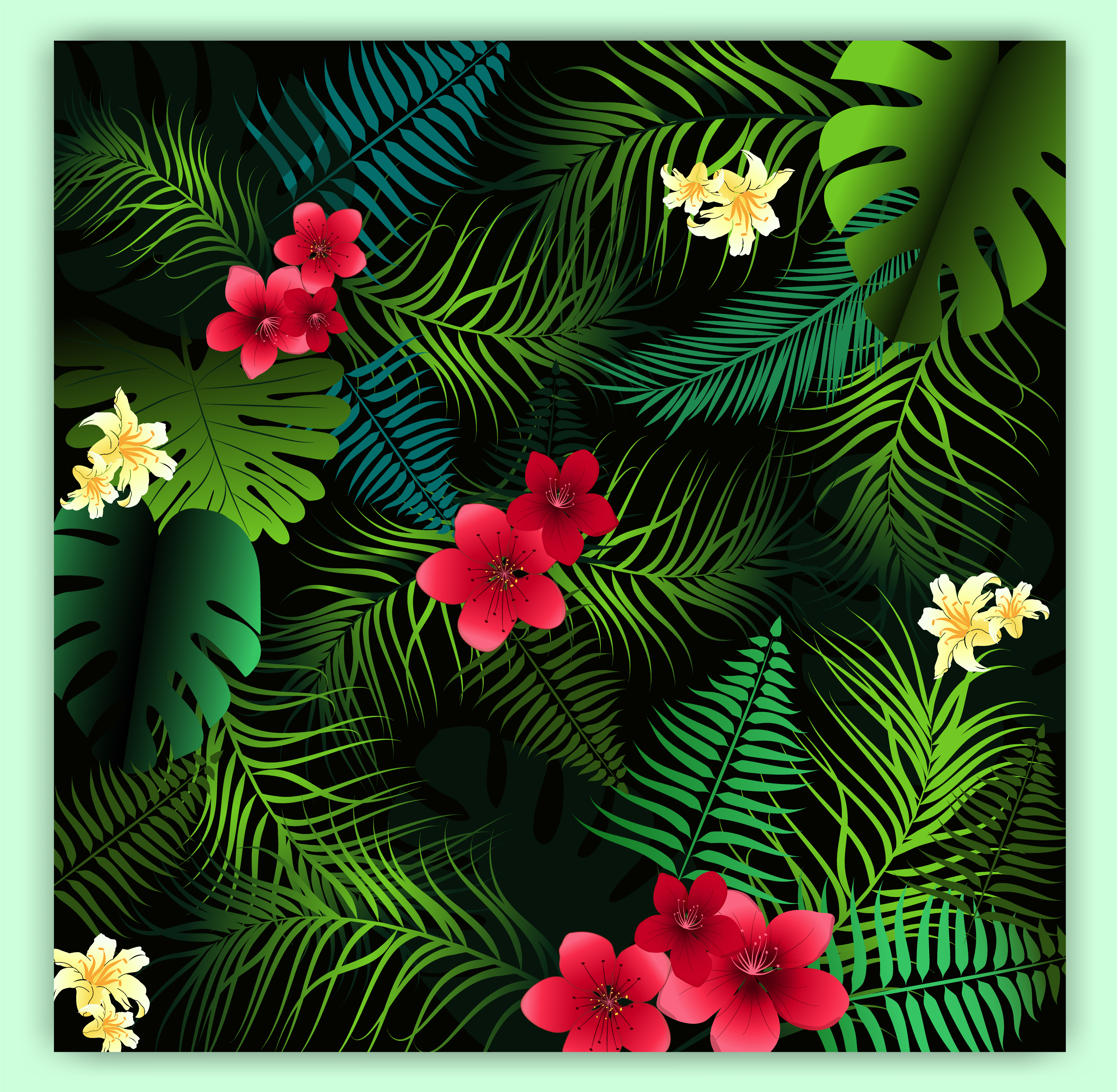 Tropical Floral Seamless Vector Pattern Background Download Free