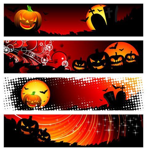 vier vector banner op een thema van Halloween