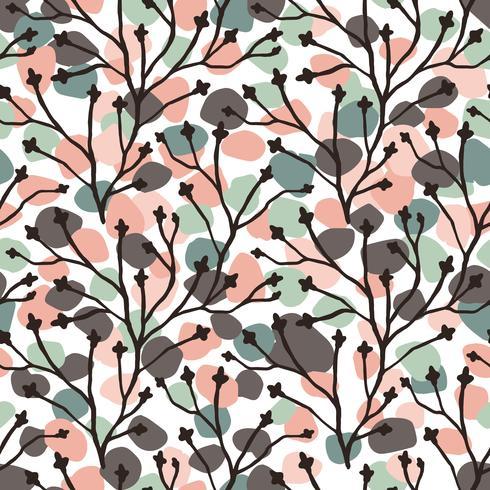 Abstract floral naadloze patroon met trendy hand getrokken texturen.