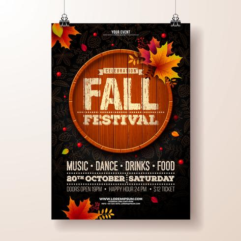 Autumn Party Flyer Illustration mit fallenden Blättern