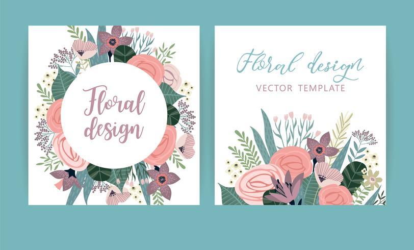 Modèles de vecteur avec des fleurs. Concevoir pour carte, affiche, bannière, invitation, mariage, voeux.