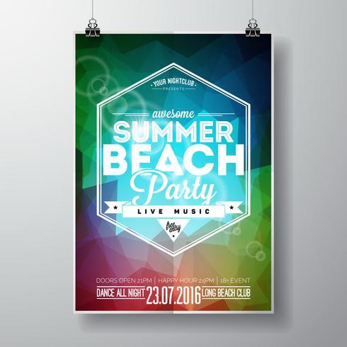 Vektor-Sommer-Strandfest-Flieger-Design mit typografischen Elementen
