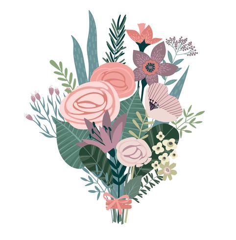 Buquê de ilustração vetorial de flores.
