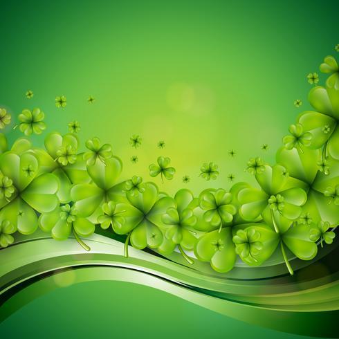 Diseño del fondo del día de San Patricio con tréboles verdes