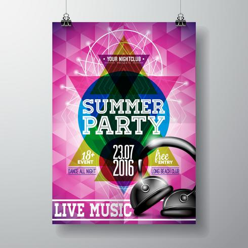 Vector Summer Beach Party Flyer Design with headphone