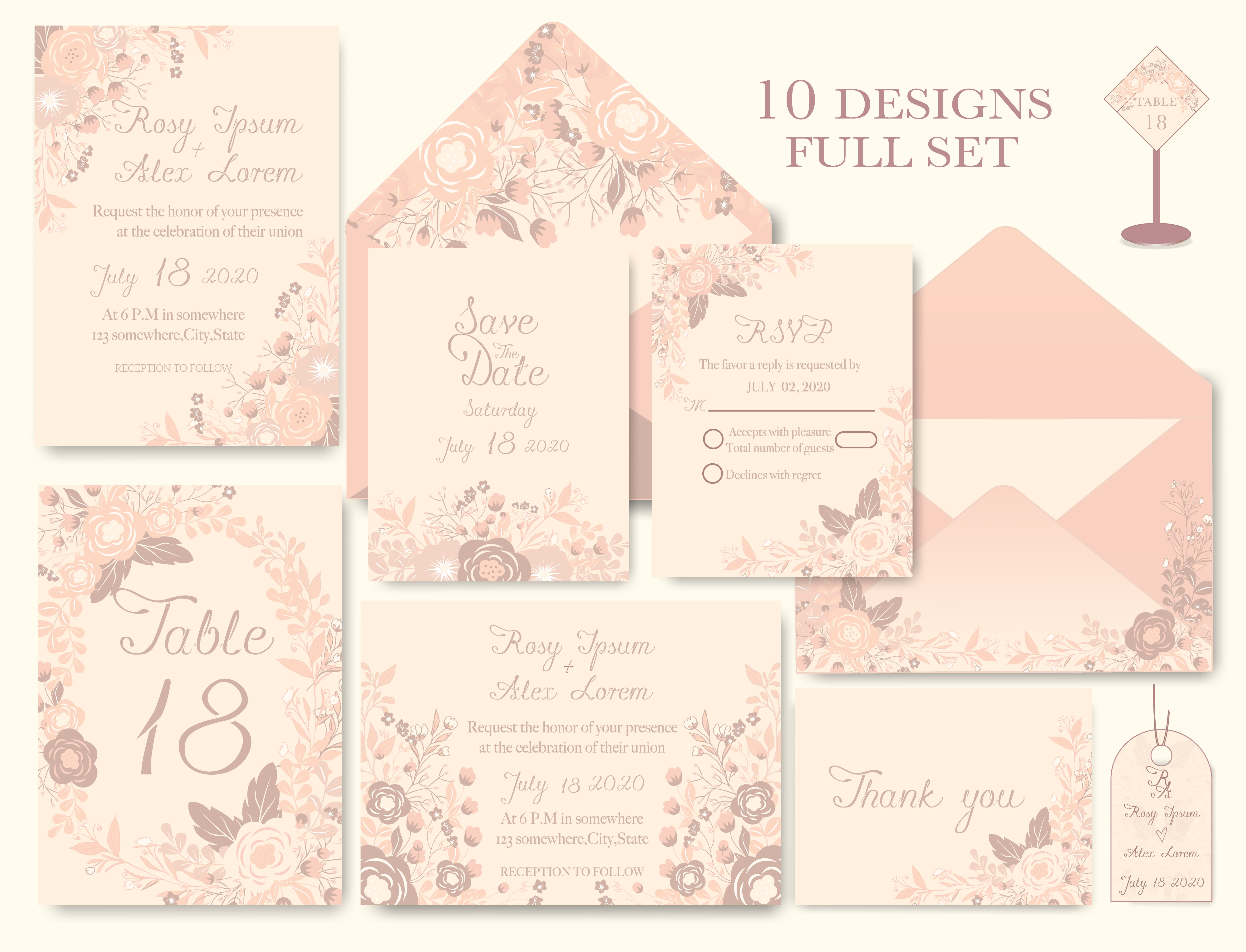 wedding invitation card with flower templates  download