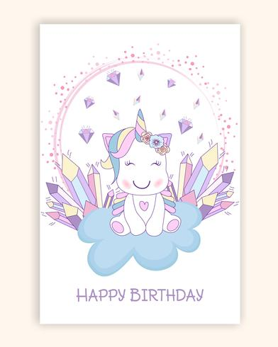 Beautiful unicorn on clouds with stars illustration vector