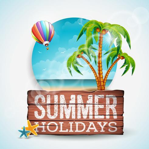 Vector illustration typographique de vacances d'été sur fond bois vintage.