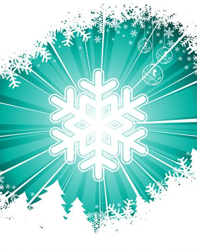 Vector Christmas illustration with snowflake on blue background.