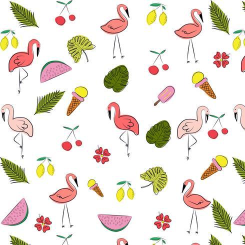 Vector zomer patroon achtergrond met flamingo vogels