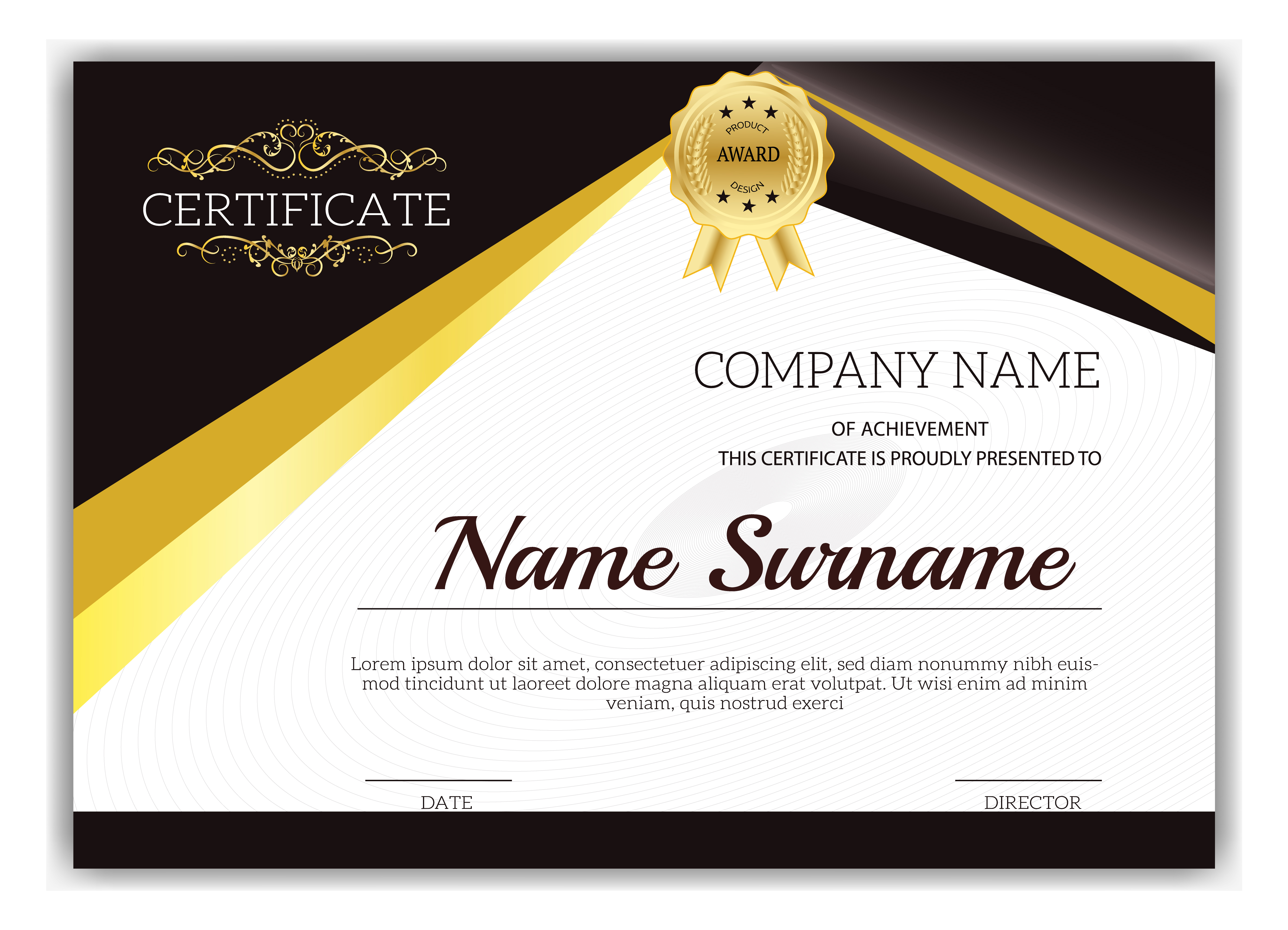 vintage golden classic certificate of achievement template