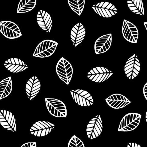 Abstrakt blommigt sömlöst mönster med löv. Trendiga handdragen texturer.