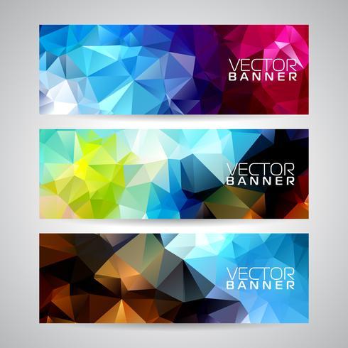 Vector geometrische driehoeken banner achtergrond instellen. Abstract veelhoekig ontwerp.