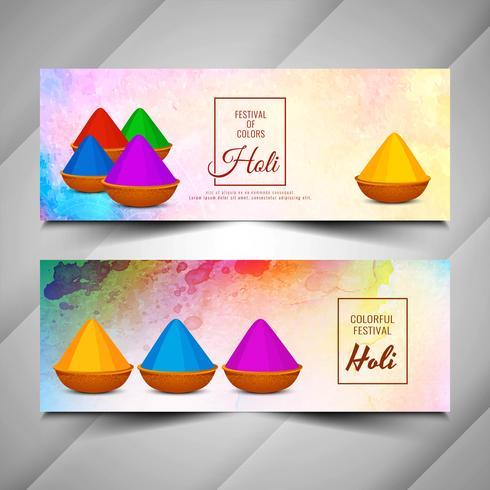 Conjunto de banners abstractos hermoso Holi feliz