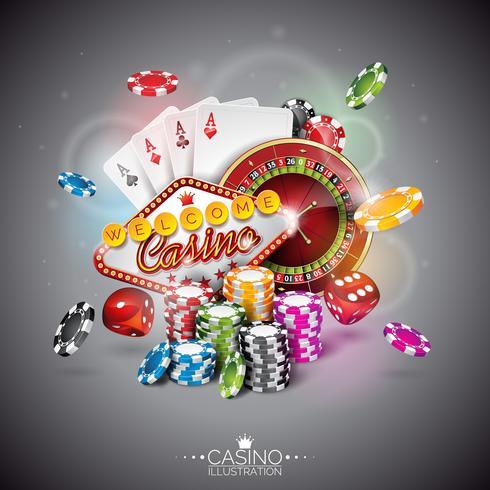 Ilustração vetorial em um tema de cassino com cores jogando fichas e cartas de poker
