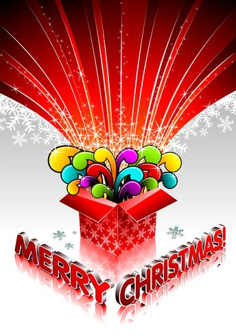 Christmas illustration with magic gift box on white background.