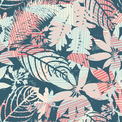 Abstrakte nahtlose mit Blumenmusterschattenbilder von Blättern und von geometrischem Hintergrund.