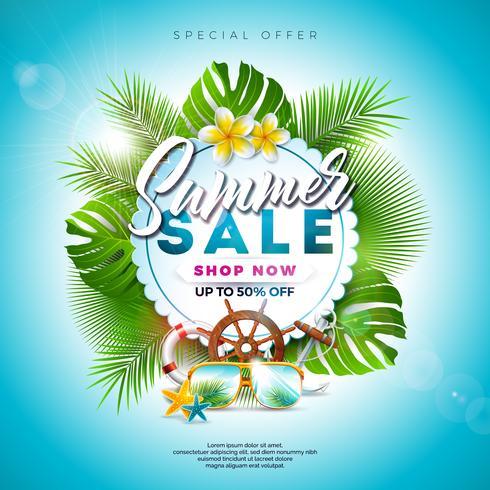 Summer Sale Design avec feuilles et fleurs exotiques