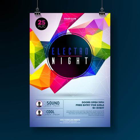 Conception d'affiche de soirée dansante nuit avec des formes géométriques abstraites modernes