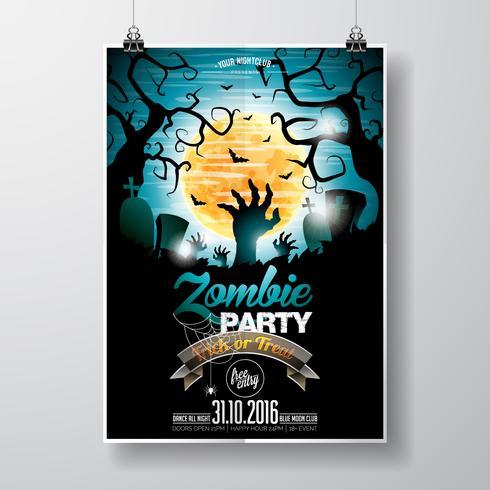 Vecteur Halloween Zombie Party Flyer Design avec des éléments typographiques sur fond bleu ..