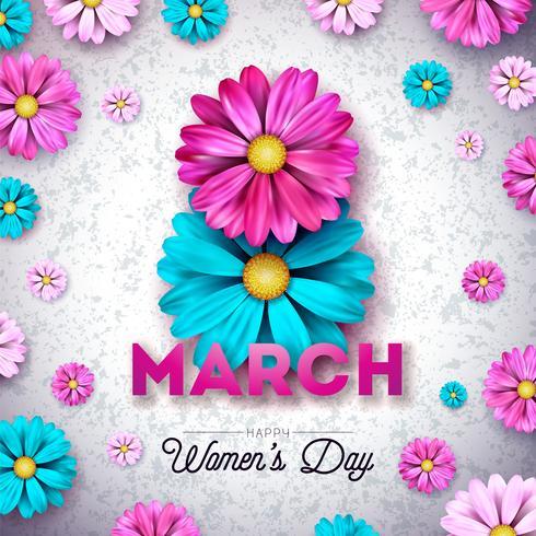 Tarjeta de felicitación floral del día de la mujer feliz 8 de marzo