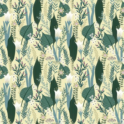 Patrón floral sin fisuras Diseño vectorial para diferentes superficies.