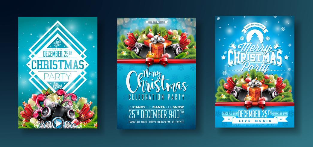 Diseño de fiesta de Navidad con elementos tipográficos.