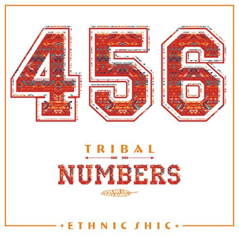 Tribal ethnic numbers for t-shirts, posters, card and other uses. vector