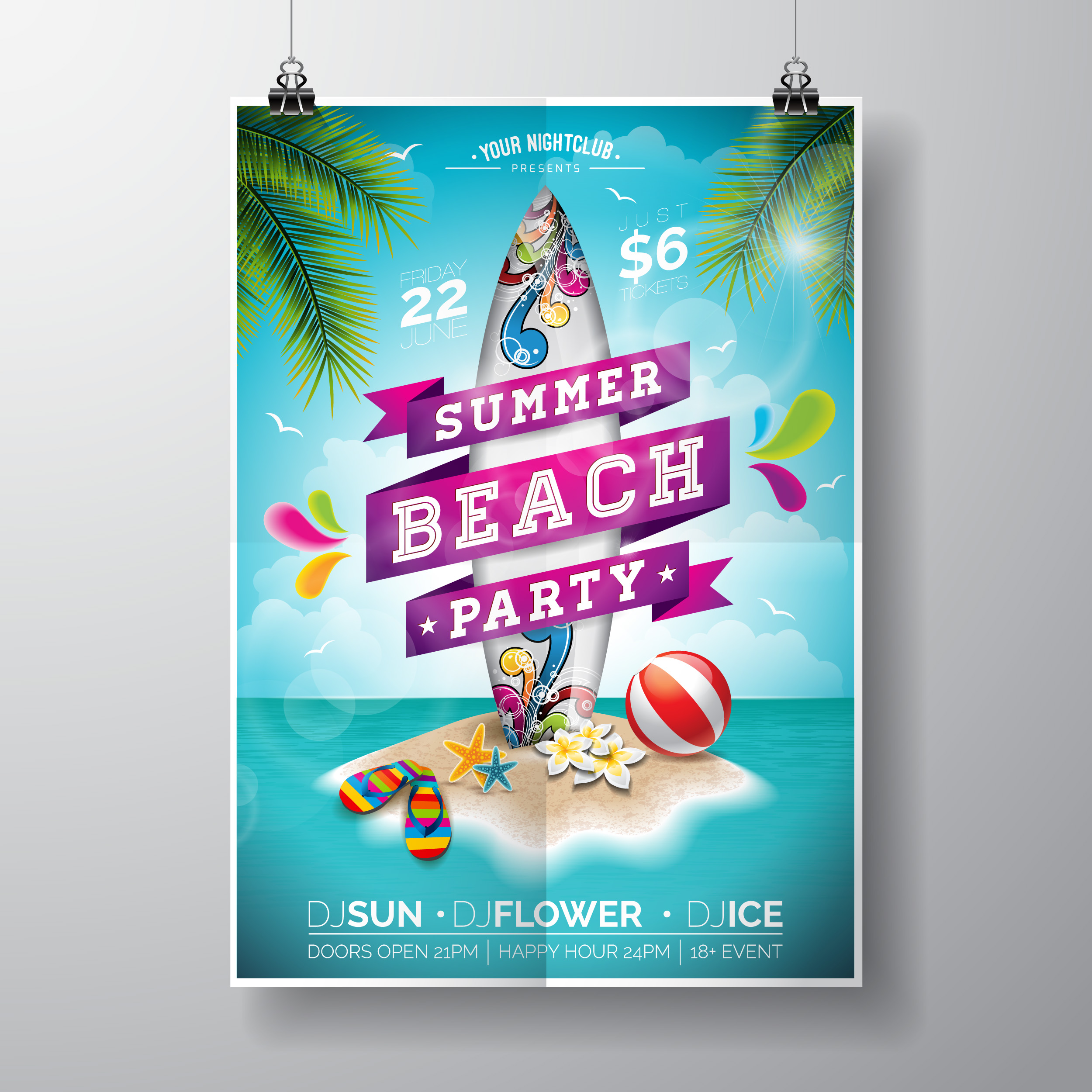 Party Island Beach: Vector Summer Beach Party Flyer Design With Surf Board And