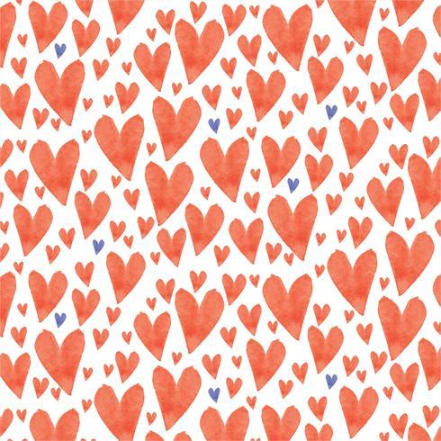 Vektor akvarell hjärtor sömlös mönster