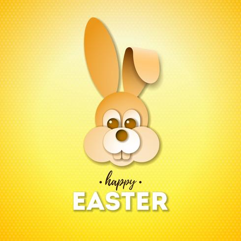 Happy Easter Holiday Design with Nice Rabbit Face