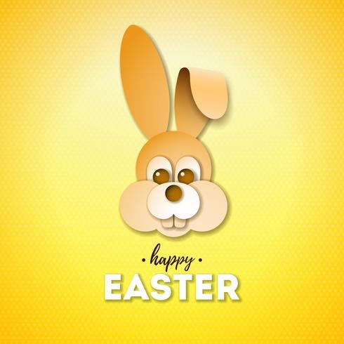 Fröhlicher Ostern-Feiertags-Entwurf mit nettem Kaninchengesicht