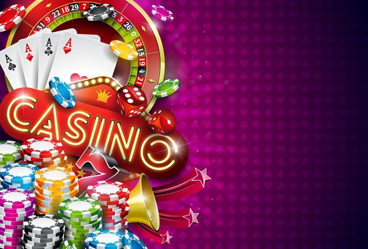 Ilustración de casino con ruleta y fichas de juego.